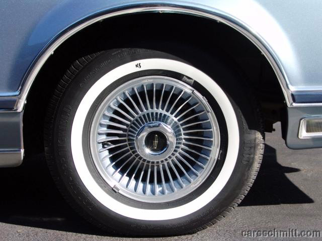 "1979 Continental Mark V Givenchy 1.3"" white band turbine styled wheels"