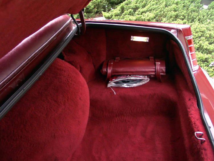 1980 Continental Mark VI Signature Series trunk compartment w/18 ounce carpeting