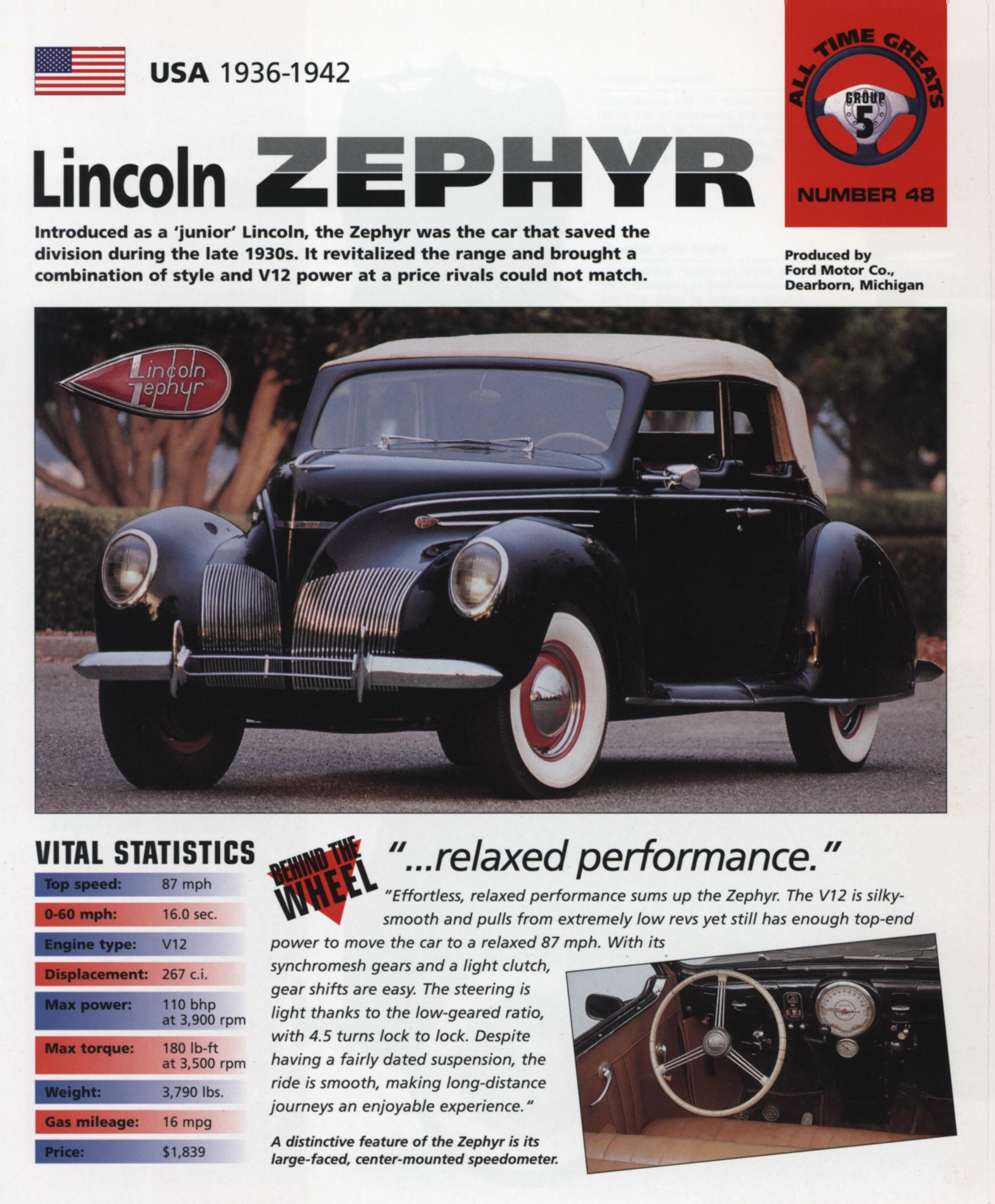 1936-42 Lincoln Zephyr - IMP Brochure